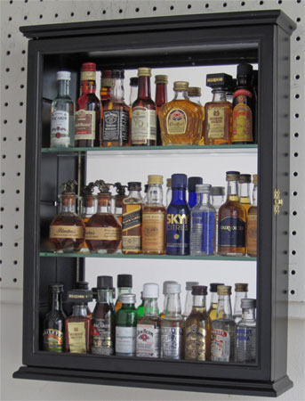 Solid Wood Mini Liquor Bottle Display Case Cabinet Shadow