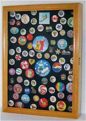 Wall Shadow Box Cabinet For Lapel Pin Patches Medal