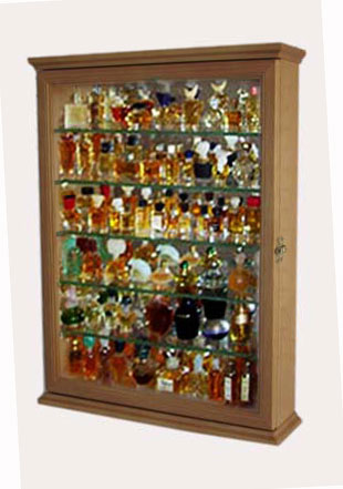 Miniature Perfume Bottle Display Case Cabinet Oak EBay