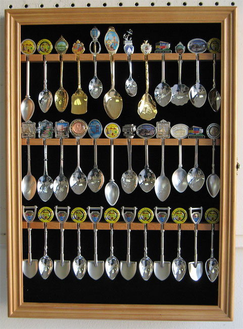 36 Spoon Display Case Rack Wall Cabinet Shadow Box Glass