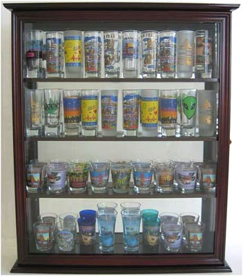 40 Shooter Tall Shot Glass Display Case Wall Cabinet With