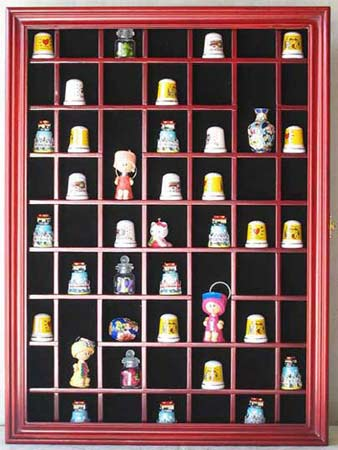 59 Thimble Display Case Wall Shadow Box Cabinet Solid