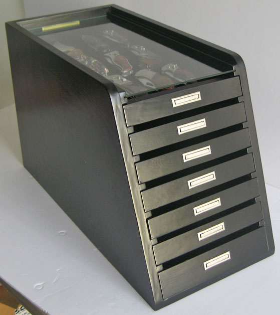 Knife Display Case Storage Cabinet W Drawers Black