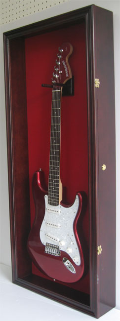 Electric Guitar Display Case Wall Frame Cabinet Wood Box