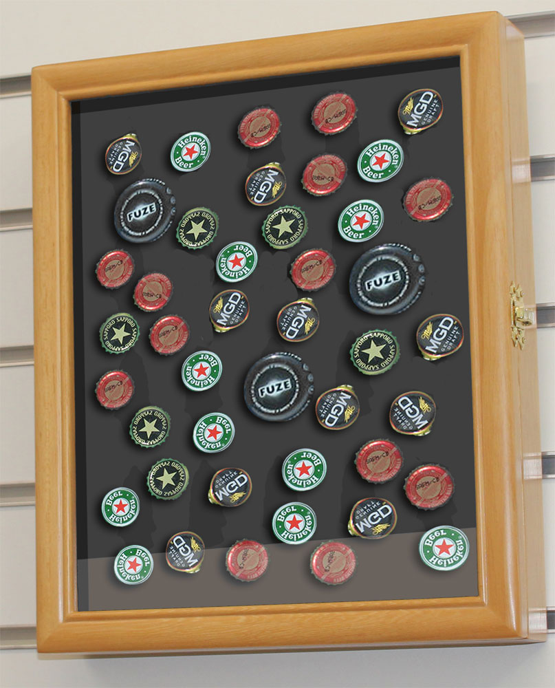 beer soda bottle cap display case shadow box cabinet